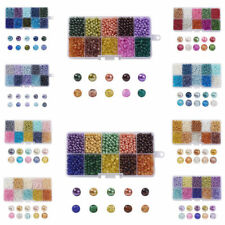 1500pcs/Box Mixed Color Baking Painted Crackle Glass & Faux Pearl Beads Kits 4mm