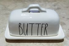 NEW Rae Dunn Butter Dish White Magenta Country Chic Farmhouse Dinner