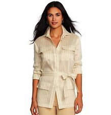 NWT RALPH LAUREN Womens Linen Silk Beige Striped Jacket Shirt Blouse Top $198