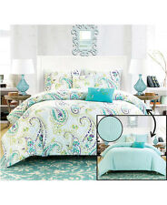 Blue Paisley 5 Pc Comforter & Shams w/Accent Pillows Set F/Queen or King