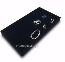 Deluxe Black Velvet 12 Compartment Stackable Jewelry Display Box Tray W Feet