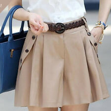 Women Fashion A-line Culottes Shorts Skirts Female Casual Bottom Skort And Belt