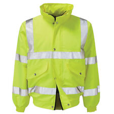 Raiken Hi Vis Viz Work Wear High Visibility Bomber Safety Jacket Contractor C...