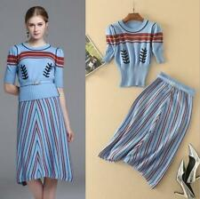 Autumn Occident High quality Woolen pullovers+striped skirt fashion makings suit