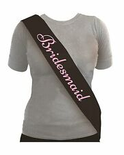 Bridesmaid Black Hen Night Ladies Party Sash with Baby Pink Text 1-5pk