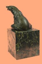 Vintage Style Metal Polar Bear Figurine Brass Bronze Brown Patina Sculpture
