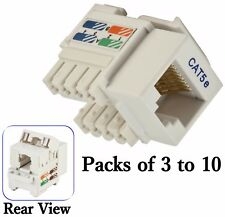White Cat5e Punch Down Network Jack Female RJ45 Ethernet for Keystone Wall Plate