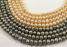 5 mm Potato Freshwater Green Peacock OR Peach Color, Genuine Pearl Beads (#653)
