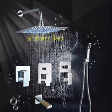 LED Rain Shower Faucet Wall Mount Mixer Tap Hand Spray Massage Jet Shower System