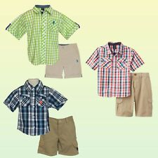 New U.S. Polo Assn. Baby/Toddler Boys' Button-Front Shirt & Shorts 2 Piece Sets