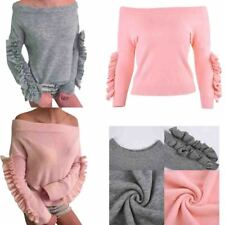 Autumn Winter Fashion Womens Casual Long Sleeves Off-shoulder Knit Slim Sweater