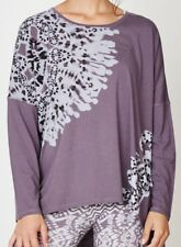 Thought Dark Grey Long Sleeve Top T Shirt Baggy Boxy Style Patterned Bamboo
