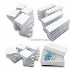 50 pcs White Swirl Cotton Filled Jewelry Gift Boxes With Variety Of Sizes