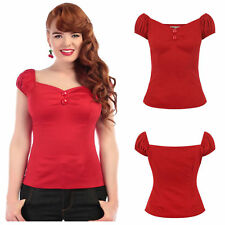 Collectif Red Dolores Gypsy Style Top Blouse Rockabilly 1950's Vintage Pin Up