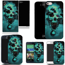 art case cover for many Mobile phones- blue holed skull silicone