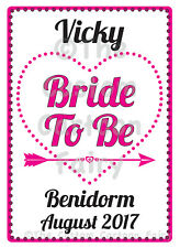 Personalised 'Bride To Be' Hen Do/Hen Party Iron On T-shirt Transfer