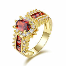 Jewelry Woman's AAA Red Garnet 18K Yellow Gold Filled Ring Gift Size 7,9,10,11