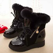 Fashion Women Winter Warm Lace Up Ankle Snow Boot Flat Heel Fleece Lined LM 01