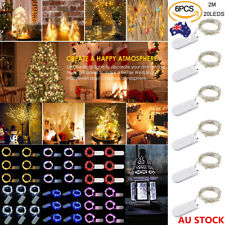 6X 20 LED Silver Wire Fairy String Lights Xmas Party Battery Lamps Waterproof