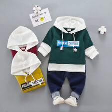 2PCS Kids Baby Boys Girls Hip-Hop Letter Hooded Tops +Navy Pants Outfits NEW