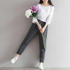 Women Checked Pants Leisure Ladies Casual Plaid Trousers Trousers Elastic Waist