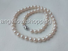 AA 8-9MM white genuined cultured freshwater pearl necklace earring clip set