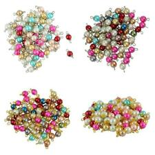 50pcs Mixed Color Eye Pin Glass Pearl Beads Daisy Cap Charms Loose Beads