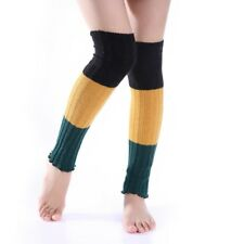 Winter Women Warm Color Patchwork Knit Crochet High Knee Leg Warmers Leggings