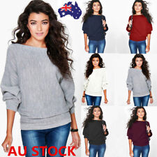 Women Off Shoulder Batwing Sleeve Sweater Knitted Pullover Knitwear Jumper Tops