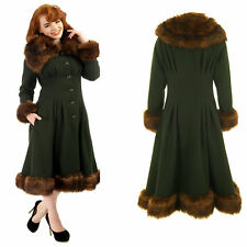 Collectif Pearl Faux Fur Winter Coat Classic Rockabilly 1950's Vintage Pin Up