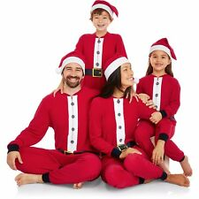 NEW Holiday Family One Piece Pajamas Santa Union Suit & Hat Womens Kids S M L XL