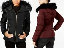 Guess puffer Jacket Faux Fur Trim Hooded Black Burgundy Coat $250 2018