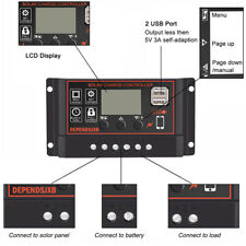 10-50A 12/24V PWM LCD Automatic Solar Panel Charger Controller Battery Regulator