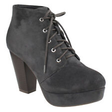 Chic Women's Charcoal Lace Up Stacked Chunky Heel Platform Ankle Bootie