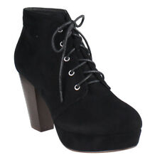 Chic Women's Black Lace Up Stacked Chunky Heel Platform Ankle Bootie