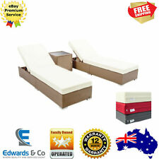 3PCS Outdoor Furniture Lounge Set Sun Day Bed PE Wicker Rattan Garden Swim Pool