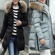 Womens Faux Fur Hooded Coat Quilted Jacket Outerwear Long Winter Warm Coatwear