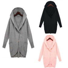 Womens Hooded Coat Tops Casual Long Jacket  Outwear Overcoat Ladies Plus Size