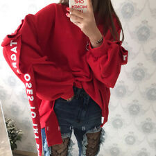 Womens Girls Cotton Ribbon Round Neck Sweaters Long Sleeves Casual Blouses
