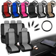 Synthetic Leather Seat Covers 5 Headrest Covers with Black Dash Mat 6 Colors