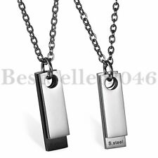 Mens Stainless Steel Two-pieces Dog Tag Pendant Lobster Clasp Chain Necklace 22""