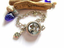 LOVE MY DOGS pre filled Living Memory Glass Locket Bracelet xmas gift dog pets
