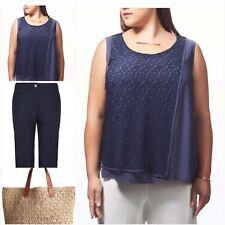 ADVOCADO Womens Luna Layered Sleeveless Top Blouse Navy **NEW Plus Size RRP $95