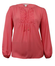 Charter Club Women's Lace-Trim Pintucked Peasant Top
