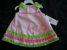 NWT Rare Too Baby 9 mo Pink Butterfly Seersucker Sundress Dress Baby Girl