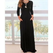 Women High Waist Long Sleeve Pleated Pockets Loose Solid Color Long Maxi Dress