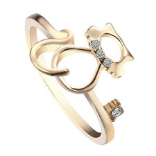Women Kitty Cat Ring Crystal Animal Ring Kitten Gold Silver Plated Fashion Gift