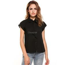 Women Casual Short Sleeve Bow Tie Neck Cap Sleeve Solid Loose Chiffon OK