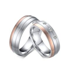 316L Stainless Steel CZ Band Men's Women's Rose Gold&Silver Couple Rings Sz 5-12