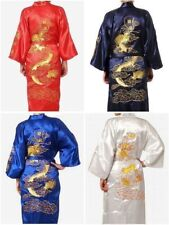 Man's Embroidery Dragon satin Kimono Robe Gown Bathrobe sleepwear